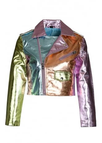Current Mood Sugar Thrillz Ballroom Blitz Metallic Moto Jacket