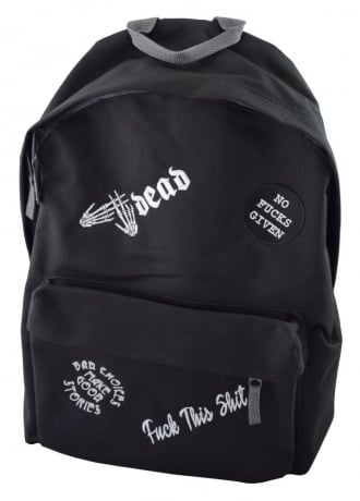 Darkside Clothing No Fucks Given Multipatch Embroidered Backpack