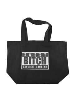 Sassy Bitch Glitter Print Tote Bag