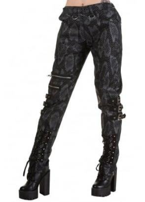 Snakeskin Zip Buckle Trousers