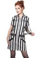 Striped Biker Shirt Dress