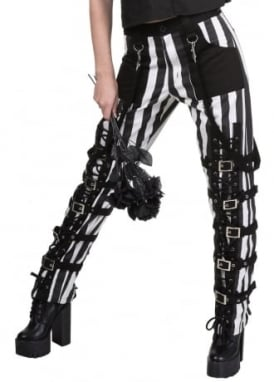 Striped Buckles & Lace-Up Trousers