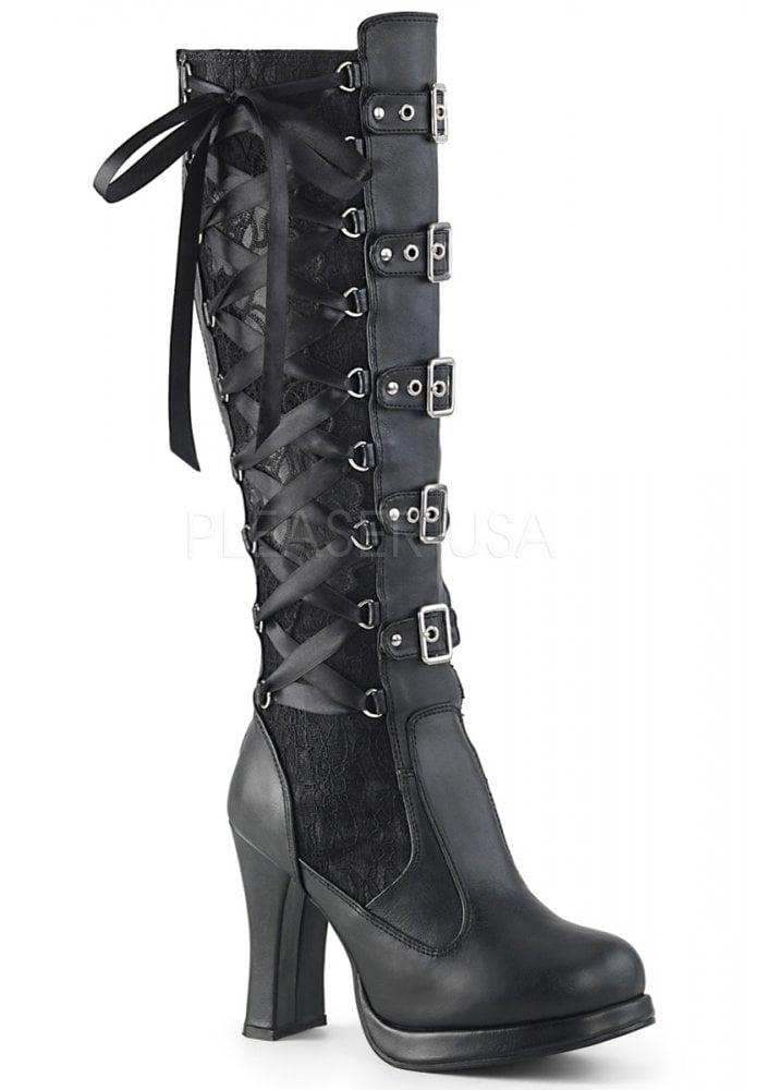 3cdee383714 Demonia Crypto 106 Gothic Knee High Boot | Attitude Clothing