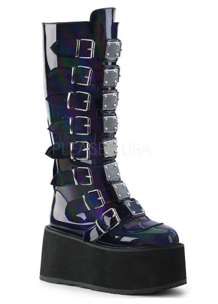 f718788ceba Demonia Damned 518 Hologram Knee High Platform Boot
