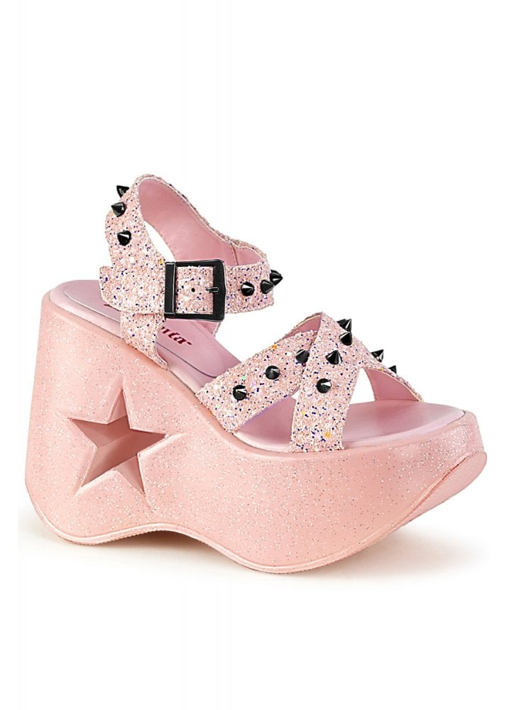 Demonia Dynamite 02 Pink Wedge Sandal