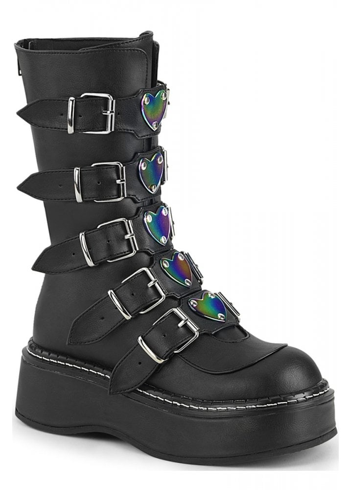 Demonia Emily 330 Heart Buckle Boot Attitude Clothing