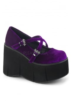 Kera 10 Purple Velvet Platform Wedge
