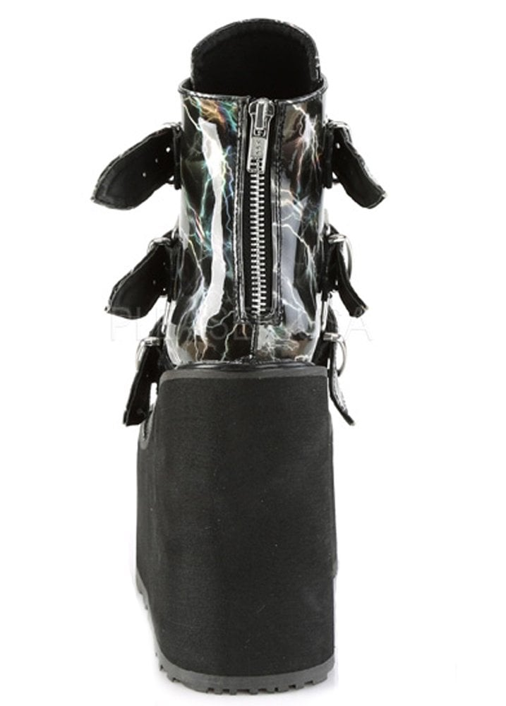 a4c62e329f8 Demonia Swing 105 Lightning Hologram Wedge Platform Boot