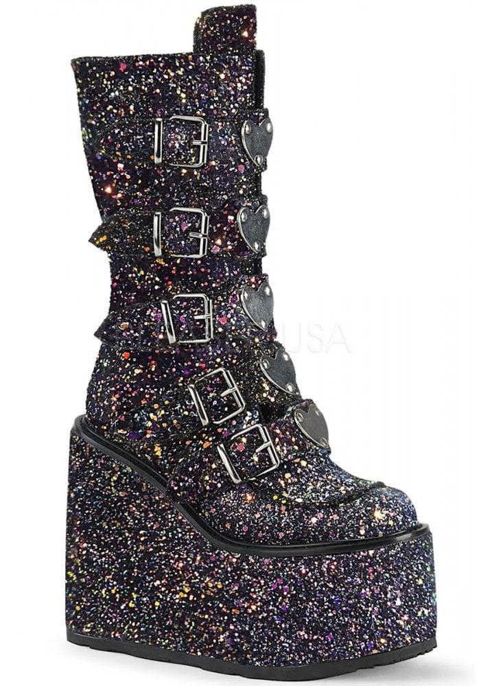 4b9b8b61738 Swing 230G Black Glitter Heart Platform Boot