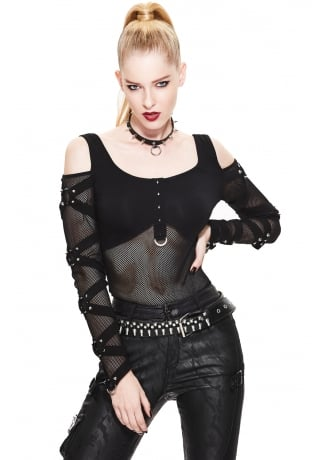 Devil Fashion Cold Shoulder Studded Mesh Top