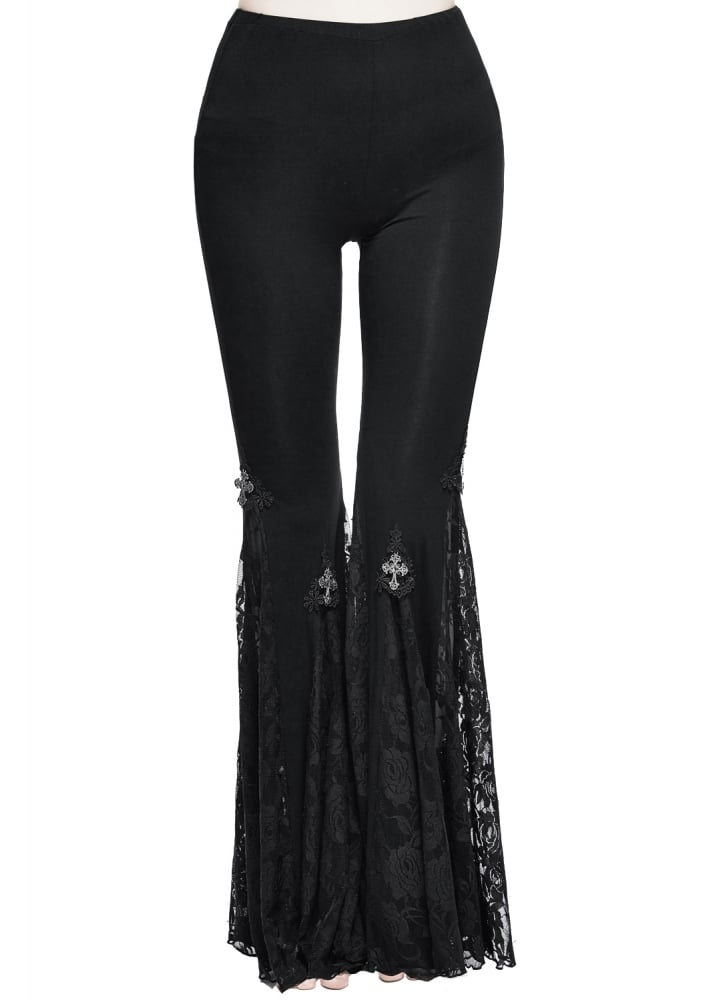 1034ac90cc Devil Fashion Elysium Lace Flared Gothic Leggings