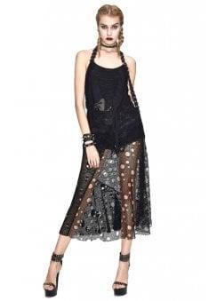 704cff29897 Eternal Halter Skull Net Maxi Dress