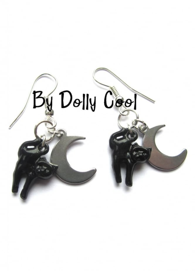 Dolly Cool Cat Earrings With Crescent Moon Drop
