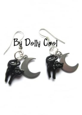 Cat Earrings With Crescent Moon Drop