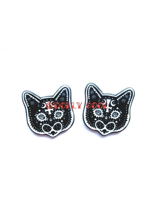 Dolly Cool Occult Cat Earrings