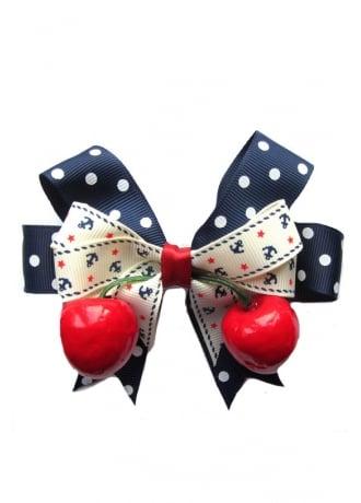 Dolly Cool Polka Dot, Anchor & Cherry Hair Bow