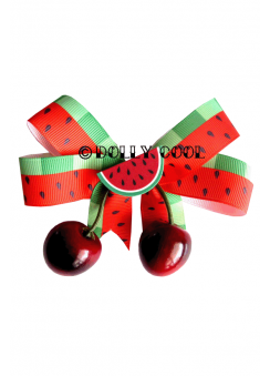 Watermelon & Cherry Bow Hair Clip