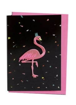 Embroidered Flamingo Greetings Card