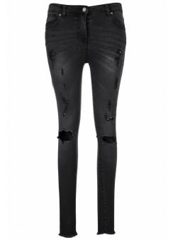 Extreme Distressed Charcoal Denim Skinny Jeans
