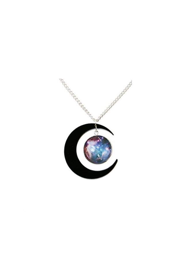 Extreme Largeness Black Crescent Moon Galaxy Necklace