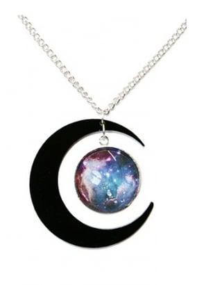 Black Crescent Moon Galaxy Necklace