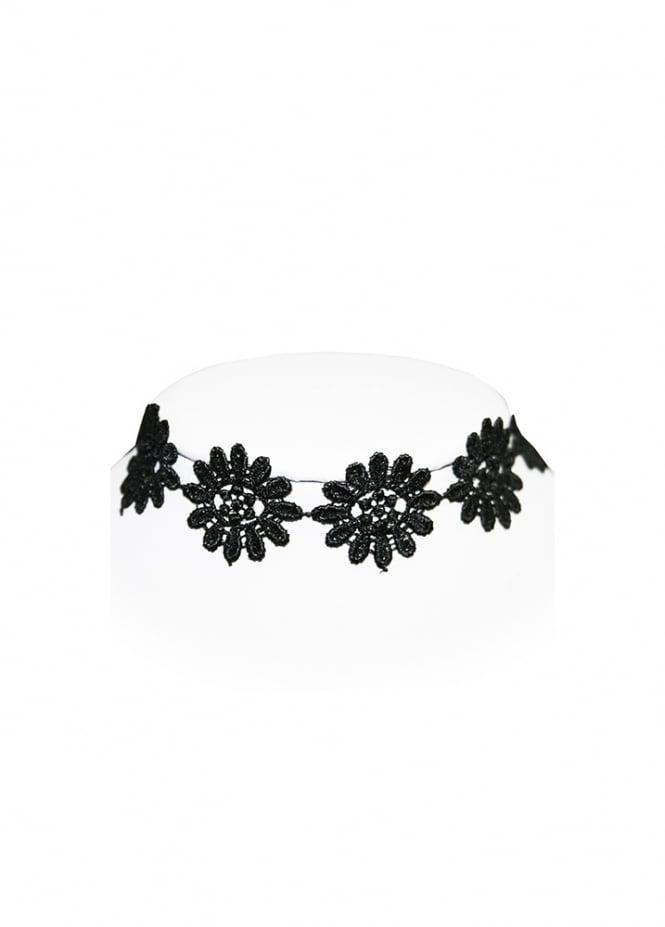 Extreme Largeness Black Flower Choker