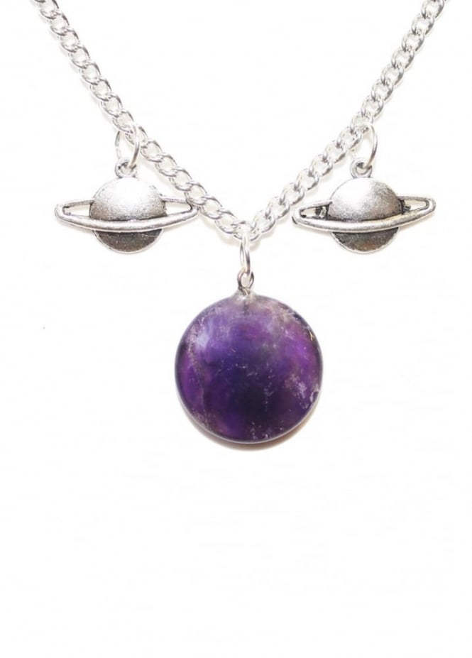 Extreme Largeness Double Saturn & Round Amethyst Chain
