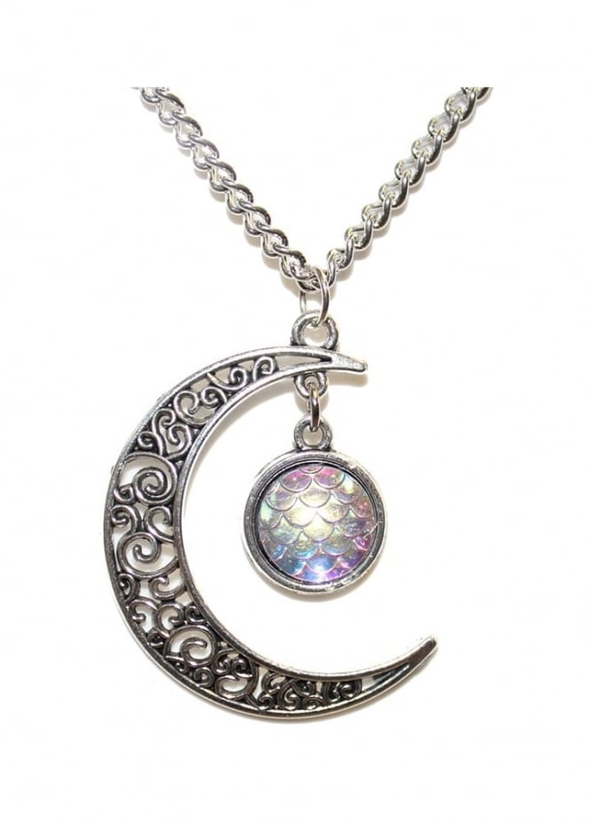 Extreme Largeness Filigree Moon & Mermaid Scale Necklace