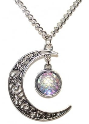 Filigree Moon & Mermaid Scale Necklace
