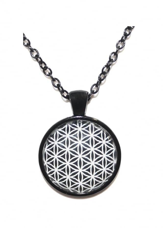Extreme Largeness Flower Of Life Black Chain Necklace