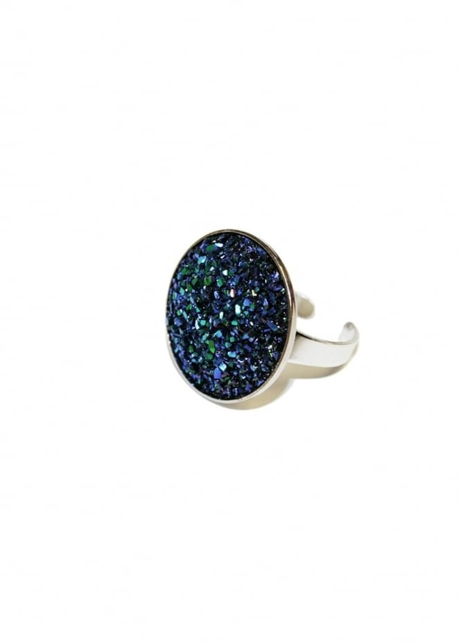 Extreme Largeness Large Midnight Blue Faux Druzy Ring