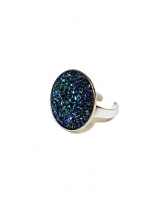 Large Midnight Blue Faux Druzy Ring