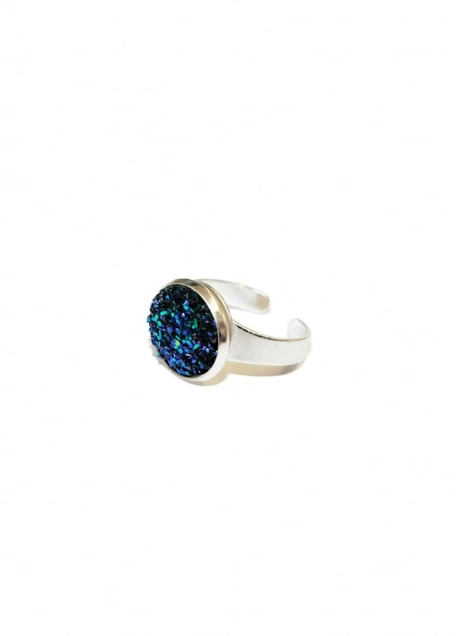 Extreme Largeness Midnight Blue Faux Druzy Ring