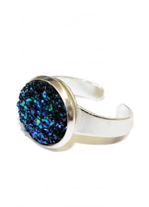 Midnight Blue Faux Druzy Ring