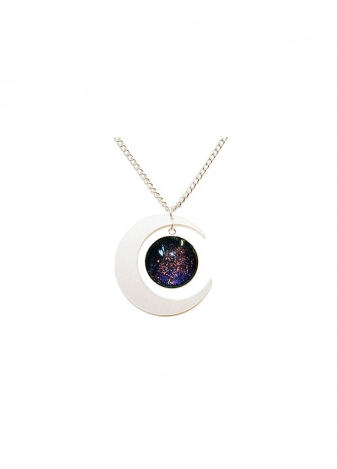 Extreme Largeness Pearl Crescent Moon Glitter Necklace