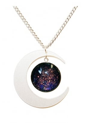 Pearl Crescent Moon Glitter Necklace