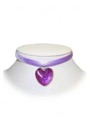 Purple Pink Sparkly Heart Velvet Choker