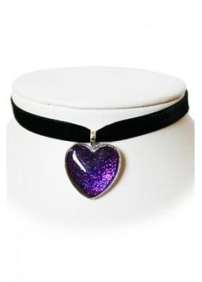 Purple Sparkly Heart Velvet Choker
