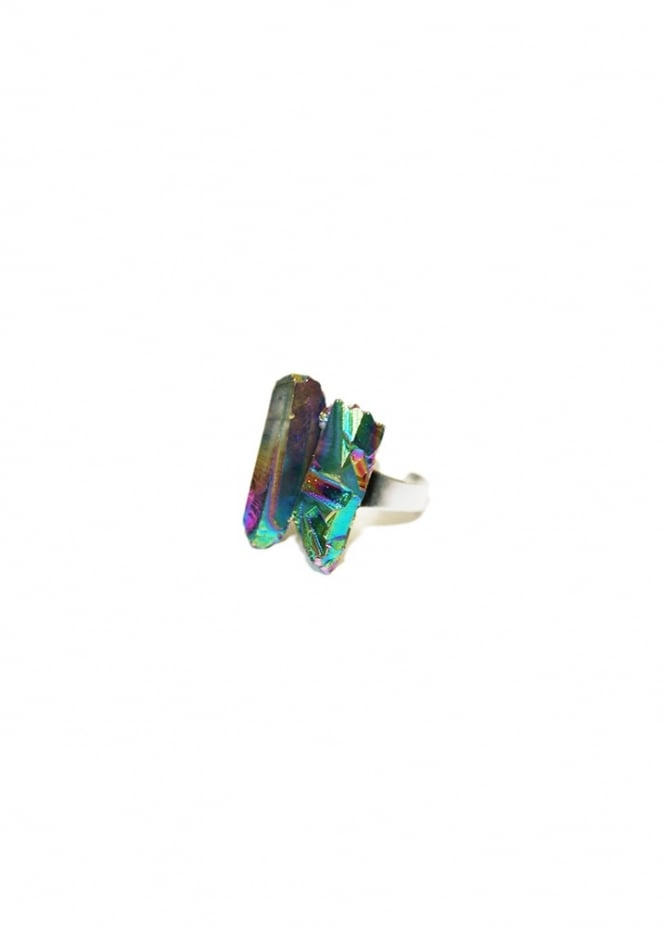 Extreme Largeness Rainbow Crystal Ring