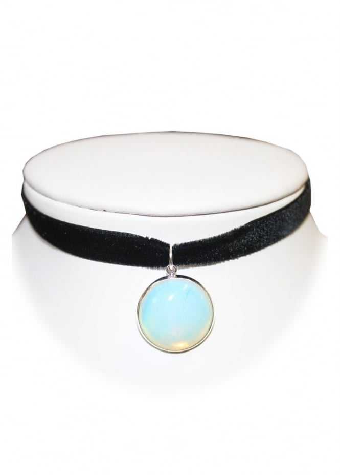 Extreme Largeness Round Opalite Crystal Velvet Choker
