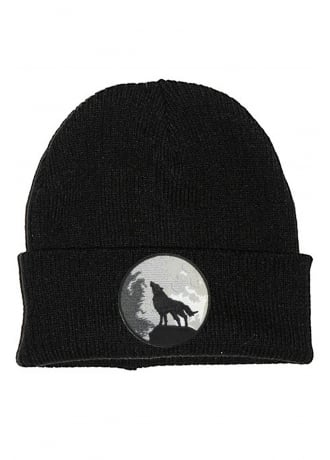 Extreme Largeness Wolf And Moon Patch Beanie