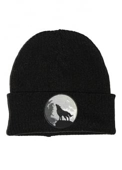 Wolf And Moon Patch Beanie