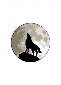 Wolf & Moon Button Badge