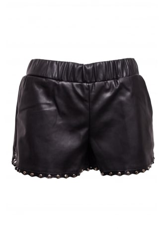 Faux Leather Studded Shorts