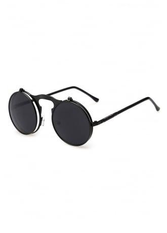 Flip Lens Round Steampunk Sunglasses