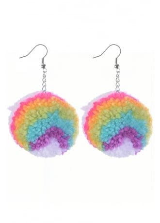 Frilly Pops Rainbow Pom Pom Earrings