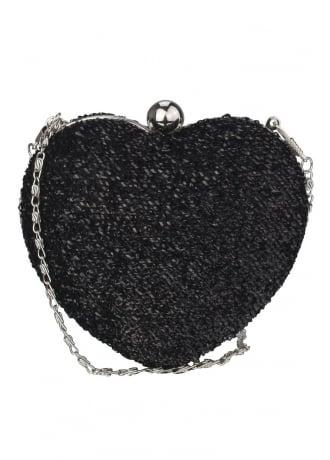 Glitter Heart Clutch Bag