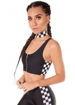 Checkerboard Panel Crop Top