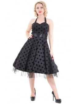 Black Purple Flocked Polka Dot Swing Dress