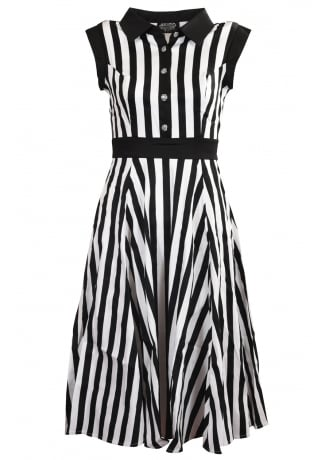 H&R London Black & White Striped Tea Dress